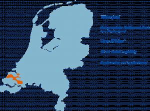 Kaart van Nederland met aanduiding van de ligging van het Oosterscheldegebied